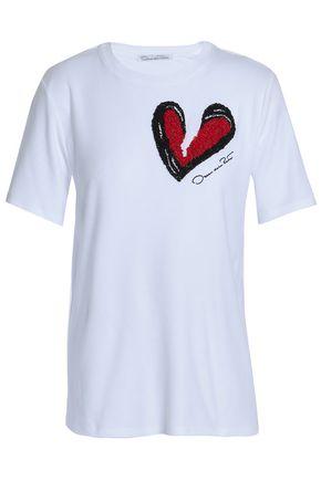 OSCAR DE LA RENTA Embellished modal and Supima-blend jersey T-shirt