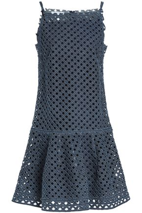 OSCAR DE LA RENTA Laser-cut denim dress