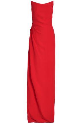 OSCAR DE LA RENTA Pleated crepe gown