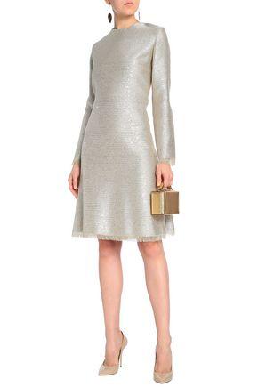 OSCAR DE LA RENTA Embellished metallic jacquard dress