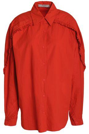 PREEN LINE Ruffle-trimmed cotton-poplin shirt