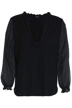 RAOUL Chiffon-paneled silk and wool-blend top
