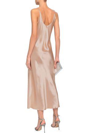 LANVIN Floral-appliquéd satin midi slip dress