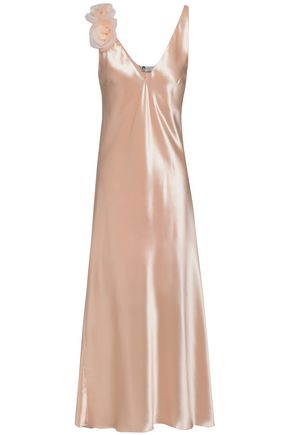 LANVIN Floral-appliquéd satin midi slip dress
