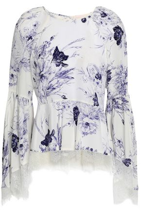 CINQ À SEPT Avalon lace-trimmed printed silk crepe de chine peplum blouse