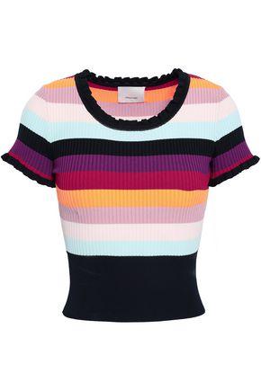CINQ À SEPT Ruffle-trimmed striped stretch-knit top