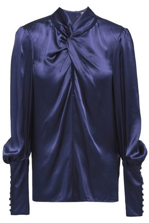LANVIN Knotted silk-satin blouse