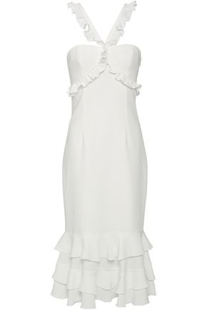 CINQ À SEPT Ruffle-trimmed tiered crepe midi dress