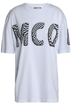 Embroidered Cotton Jersey T Shirt by Mc Q Alexander Mc Queen
