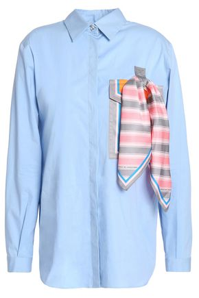 MARCO DE VINCENZO Satin-appliquéd cotton-blend poplin shirt