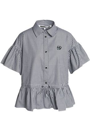 McQ Alexander McQueen Appliquéd gingham cotton top
