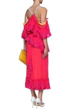 MARCO DE VINCENZO Cold-shoulder ruffled embroidered voile midi dress