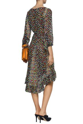 MARCO DE VINCENZO Lace-trimmed printed silk-georgette dress