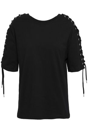 McQ Alexander McQueen Lace-up French cotton-terry sweatshirt
