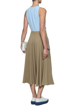 MARCO DE VINCENZO Appliquéd paneled crepe and cady midi dress