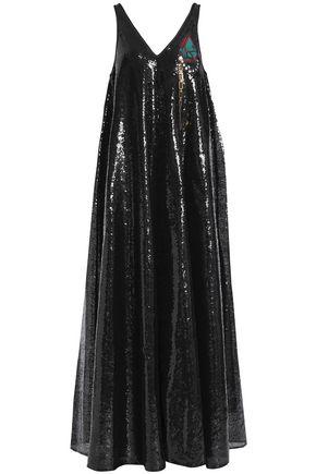 MARCO DE VINCENZO Sequined appliquéd tulle maxi dress