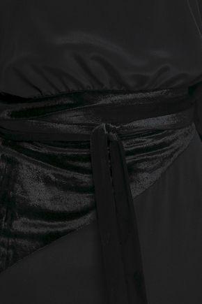 MARCO DE VINCENZO Cold-shoulder velvet-paneled crepe de chine midi dress