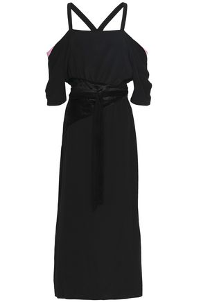 MARCO DE VINCENZO Cold-shoulder velvet-paneled crepe de chine midi dress