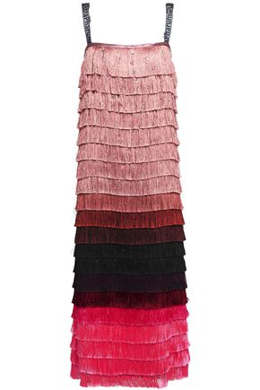 MARCO DE VINCENZO Crystal-embellished fringed satin midi dress