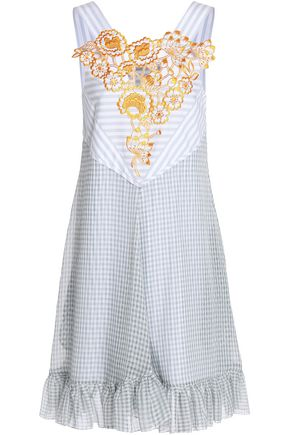 MARCO DE VINCENZO Embroidered printed mousseline dress