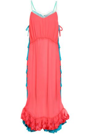 MARCO DE VINCENZO Bow-detailed two-tone crepe de chine maxi dress
