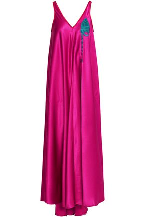 MARCO DE VINCENZO Appliquéd satin-crepe maxi dress