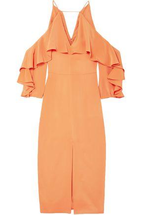 CUSHNIE Cold-shoulder ruffled silk midi dress