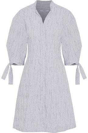 DEREK LAM 10 CROSBY Striped textured cotton-blend poplin shirt dress