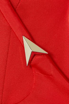 MUGLER Open-back stud-embellished stretch-jersey gown