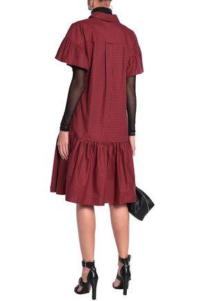 McQ Alexander McQueen Appliquéd gingham cotton-poplin shirt dress