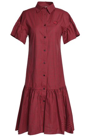 McQ Alexander McQueen Appliquéd gingham cotton-poplin shirt dress