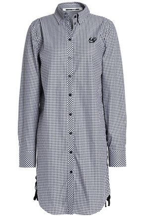 McQ Alexander McQueen Lace-up gingham cotton-poplin blouse