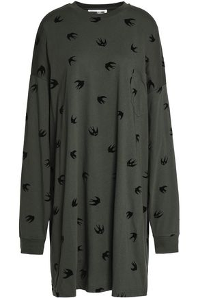 McQ Alexander McQueen Oversized flocked cotton-jersey dress