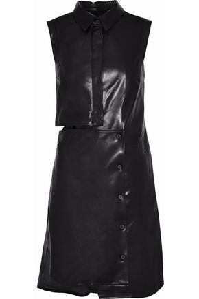 MILLY Asymmetric cutout leather mini dress
