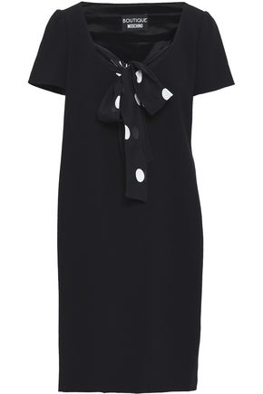 BOUTIQUE MOSCHINO Bow-embellished stretch-crepe mini dress
