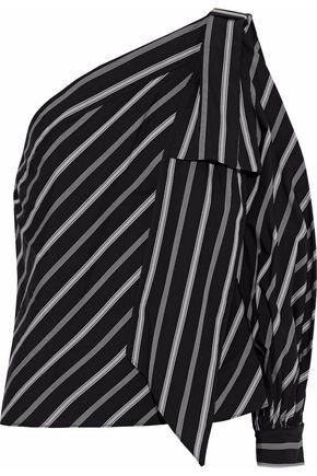 MILLY Nina one-shoulder striped cotton-poplin top
