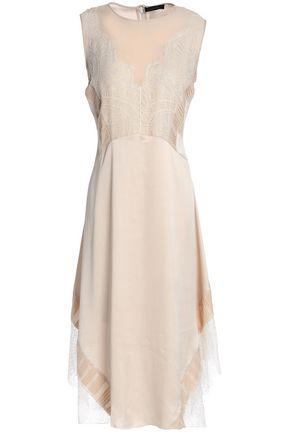 BELSTAFF Corded lace-paneled silk-satin dress