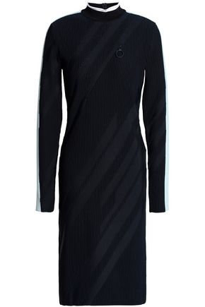 VERSACE COLLECTION Striped ribbed-knit dress