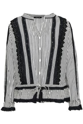 LOVE SAM Lace-trimmed striped cotton-blend woven top