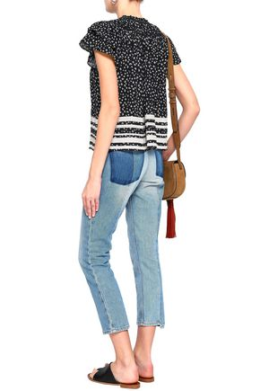 LOVE SAM Tasseled printed crepe blouse