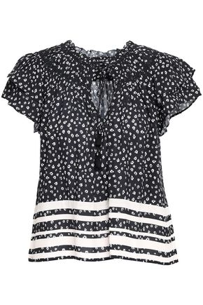 LOVE SAM Tasseled printed crepe blouse