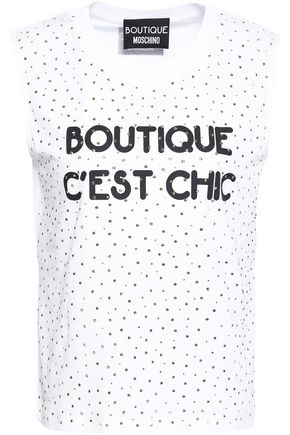 BOUTIQUE MOSCHINO Crystal-embellished printed cotton-jersey top