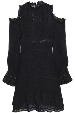 LOVE SAM Cold-shoulder fil coupé chiffon and lace mini dress