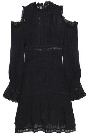 LOVE SAM Cold-shoulder fil coupé chiffon and lace mini dress
