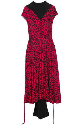 VETEMENTS Paneled leopard-print stretch-jersey midi dress