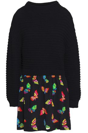 BOUTIQUE MOSCHINO Printed knitted wool mini dress