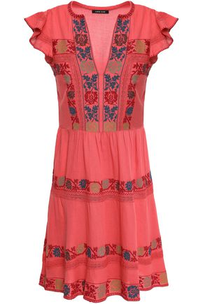 LOVE SAM Embroidered cotton mini dress