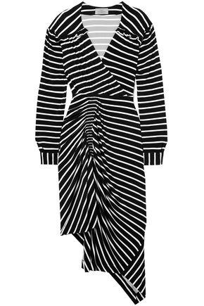 PREEN by THORNTON BREGAZZI Annabel asymmetric ruched striped stretch-jersey dress