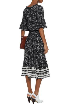LOVE SAM Striped floral-print crepe de chine midi dress