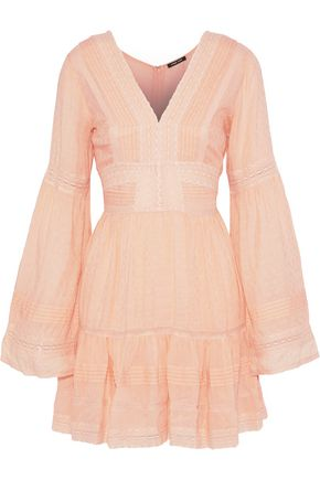 LOVE SAM Pleated modal-blend jacquard mini dress